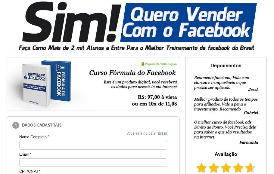 forma de pagamento curso formula do facebook